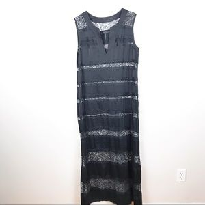 BCBG   Black Lace Silky Maxi Dress